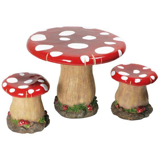 ensemble table tabourets champignon mobilier enfants fraise des bois - Table Jardin Bois Enfant