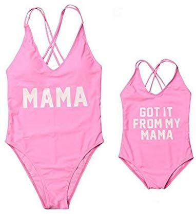 Mommy and me Family Matching Letter Print Bathing Suit Mother Girls One Piece Sporty Monokini Swimsuit