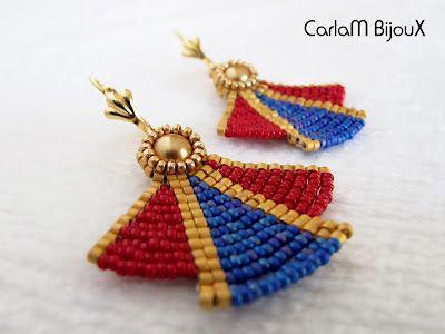 b3a688bfa029 Pendientes egipcios. Egyptian earrings. Interesting pattern here ...