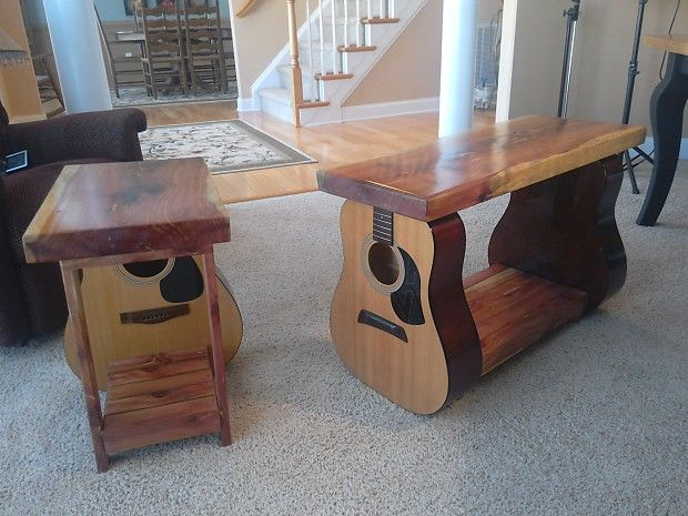 handmade acoustic guitar combo coffee and end table made from guitar bodies and local cedar. Black Bedroom Furniture Sets. Home Design Ideas