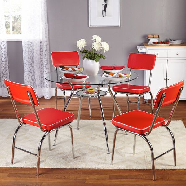Glass Top Dining Set Red 5 Piece Table 4 Chairs Outdoor/Indoor Pool Furniture #TMS
