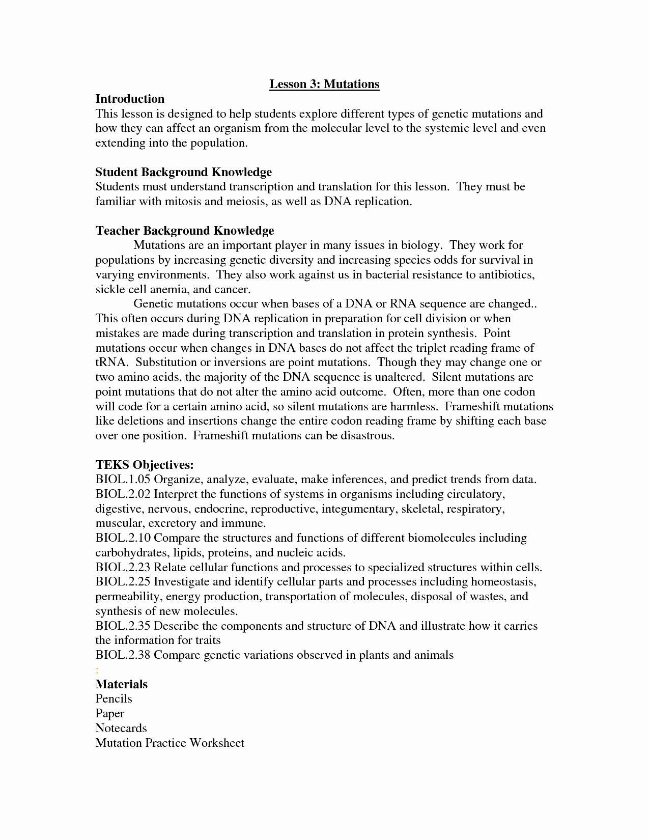 Mutation Worksheet Answer Key Fresh 12 Best Of