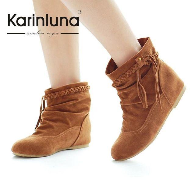 2016 Tamaño Grande Mujeres Botas de Imitación de Gamuza de Cuero Occidental  Interior Talones Tobillo botas de mujer Borla resbalón En los Zapatos de la  ... 5682a9a2a4f5