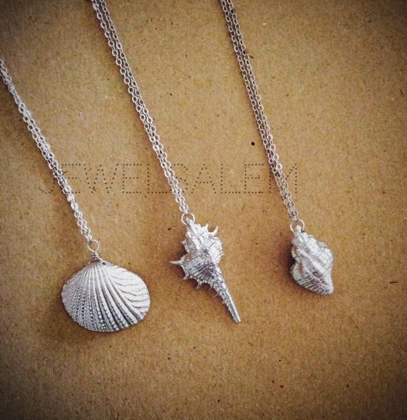 Silver shell necklace Handmade jewellery beach wedding Sterling silver shell Gift for her Silver Shell pendant Seashell necklace