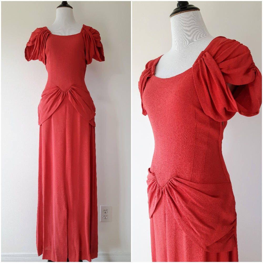 Vintage 1940\'s Coral Crepe Gown | Vintage 1940s Gown | Vintage 1940s ...