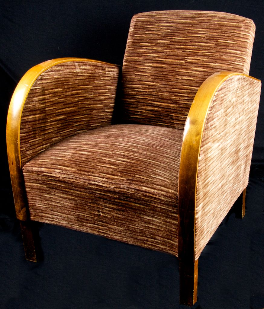 Pair Art Deco Striped Fabric Armchairs