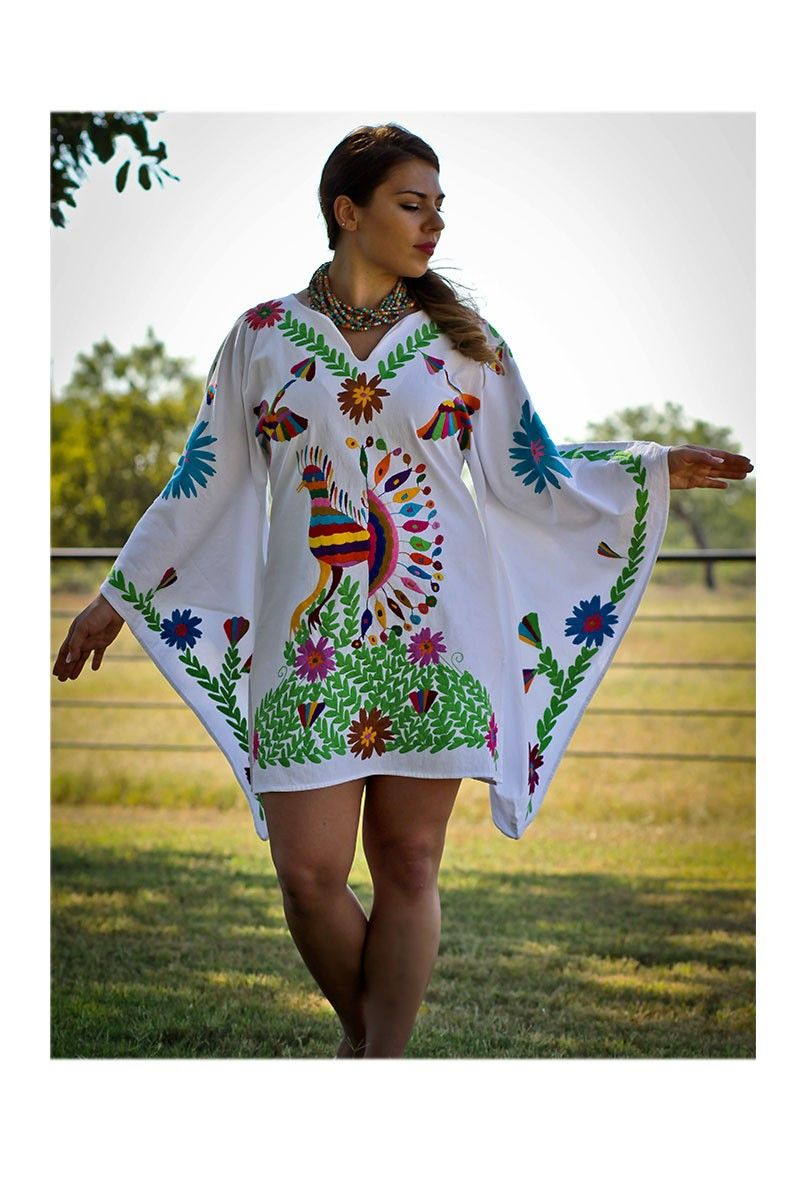 Mexican Hand Embroidered Blouse Pavoreal Dress