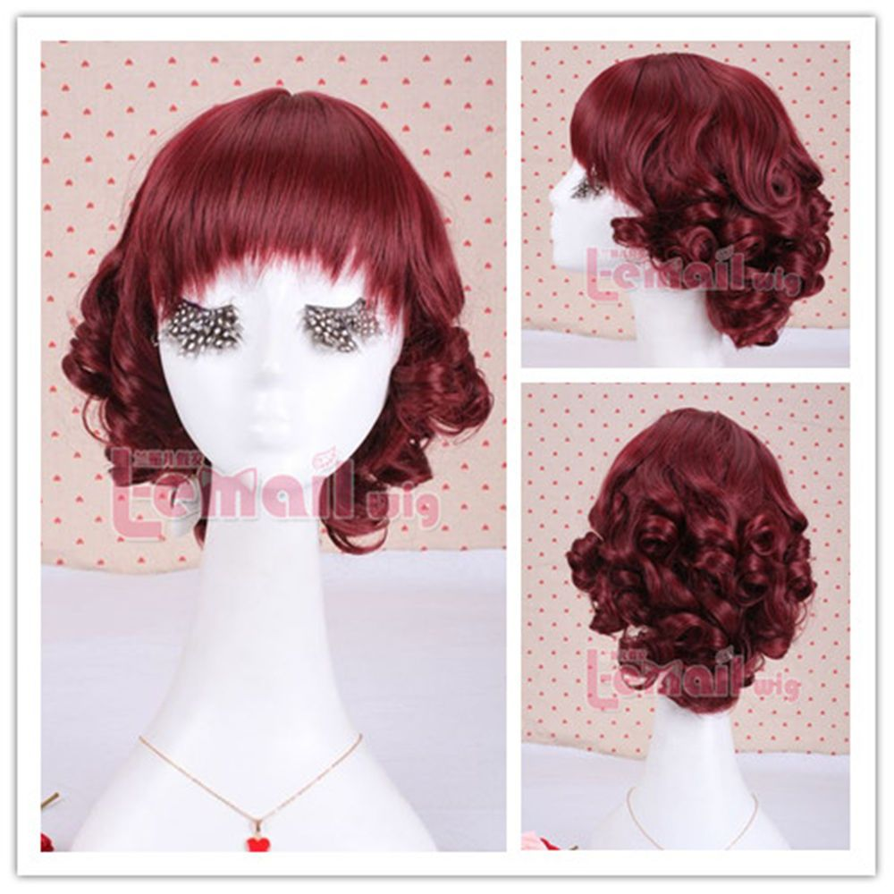 Amazing 30cm Short Wine Red Wave Cosplay Hair Wig In Stock Zy01 B Free Wig Cap Shortwig Redwig Cosplaywig Cosplay Wig Re Cosplay Hair Wig Hairstyles Wigs