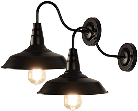 Lynpon 2 Pack Black Gooseneck Barn Light Fixture Industrial Vintage Wall Sconce For Warehous Barn Light Fixtures Vintage Wall Sconces Industrial Light Fixtures