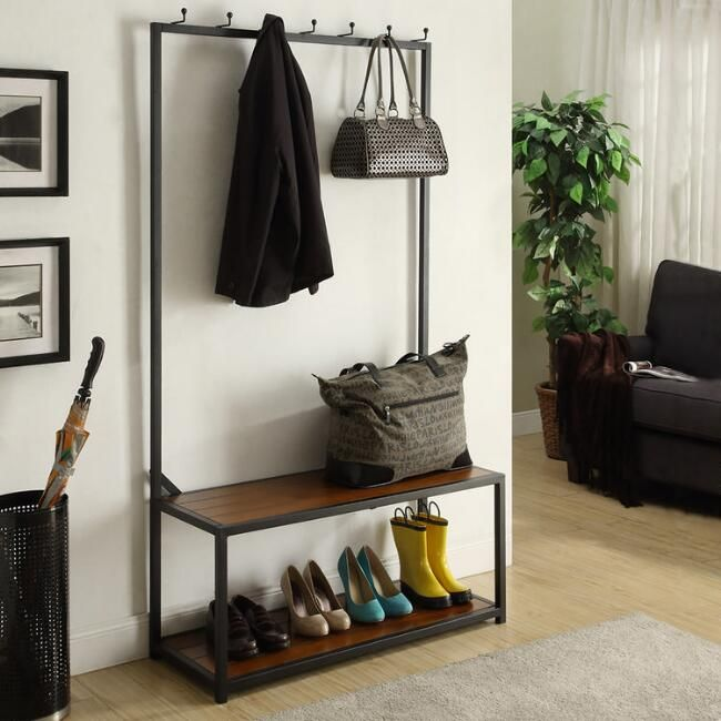 Phenomenal Black Metal And Wood Entryway Bench V2 Home Hall Tree Pabps2019 Chair Design Images Pabps2019Com