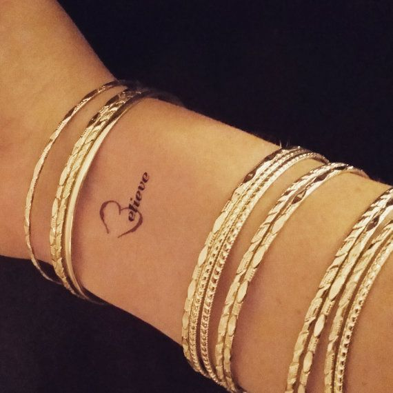 Quote Tattoo Temporary Tattoo Quote Believe By