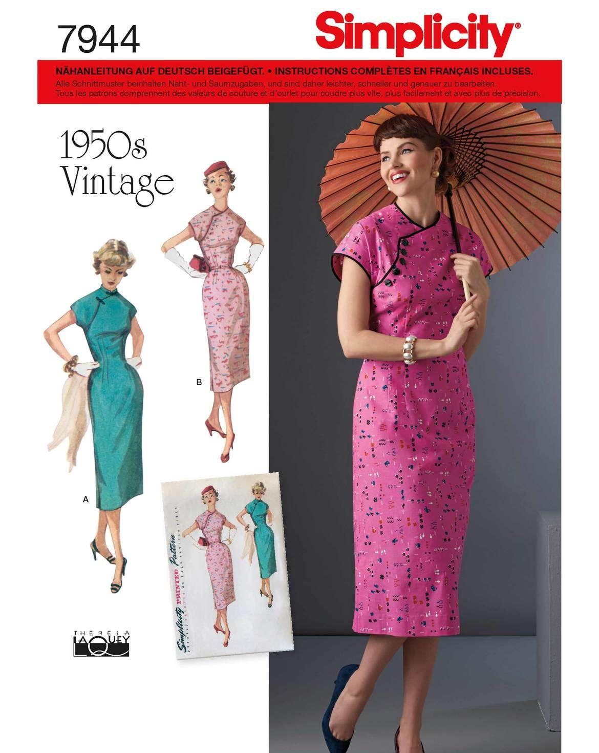 burda style, Simplicity Schnitt, Asia-Kleid H/W 2017 #7944.H5 ...