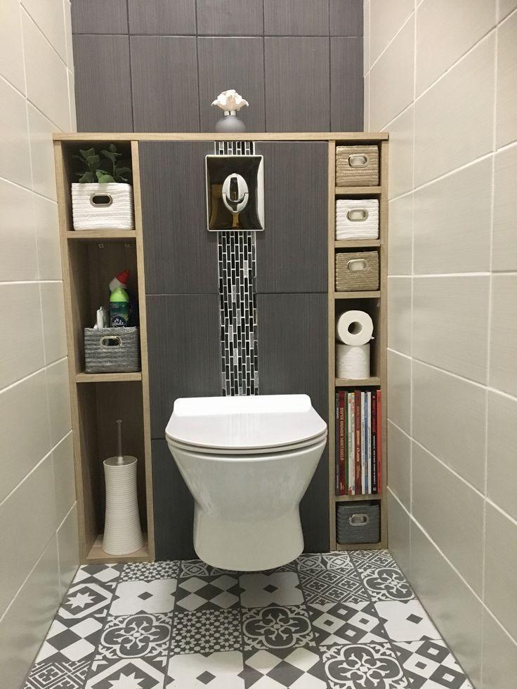 Wc Suspendu Carreaux Ciment Blanc White Gris Grey Tiles Niche Bois