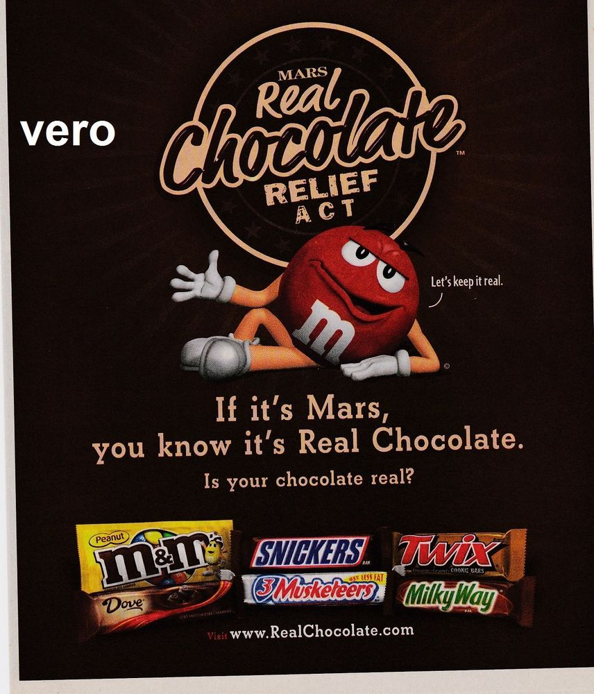 2009 magazine ad M&M's REAL CHOCOLATE RELIEF ACT #3 mms M ...