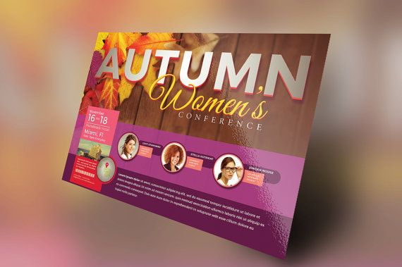 Autumn Womens Conference Flyer Template by SeraphimCollective - microsoft templates for flyers