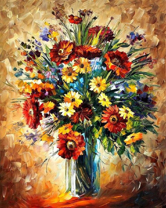 White Flowers Palette Knife Oil Painting On Canvas Leonid Wall Art