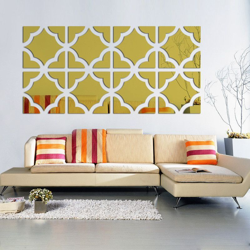 geometric mirrored acrylic wall sticker decor | wall sticker