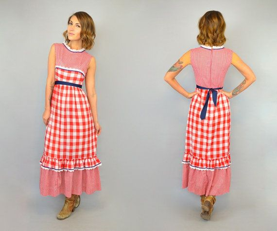 Vintage 1980s Ruffled Gingham Print Maxi Dress   DISCO LEAF VINTAGE