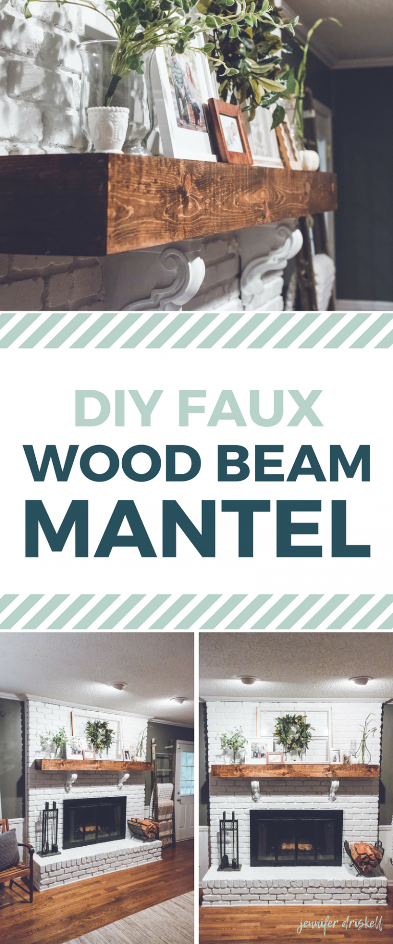 DIY Faux Wood Beam Mantle Farmhousestyle white brick fireplace