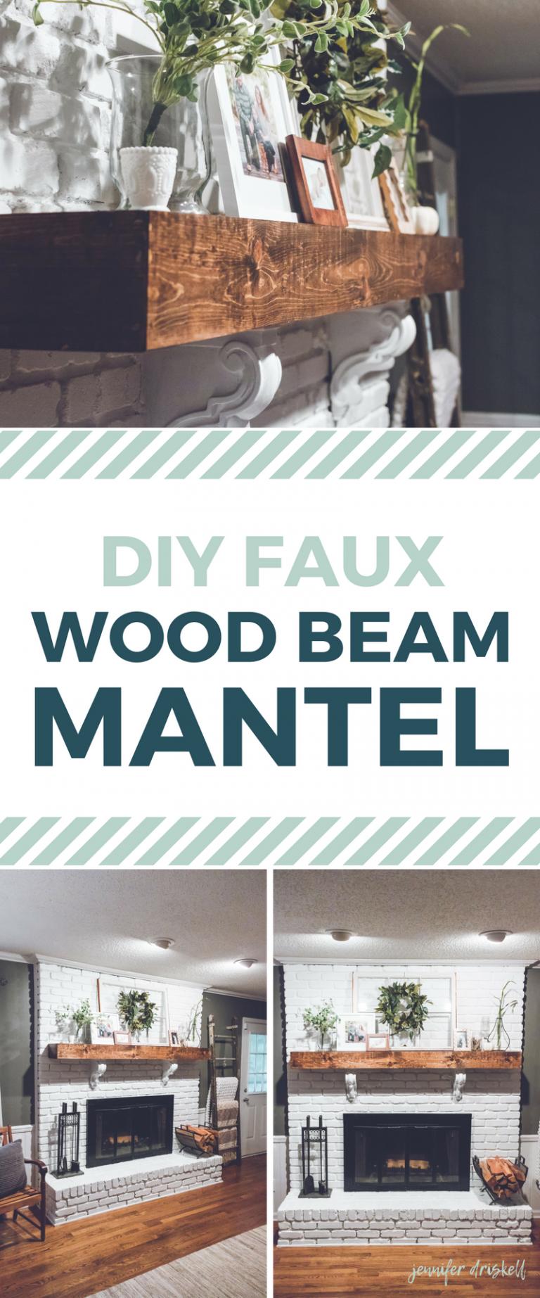 DIY Faux Wood Beam Mantle Farmhousestyle white brick fireplace