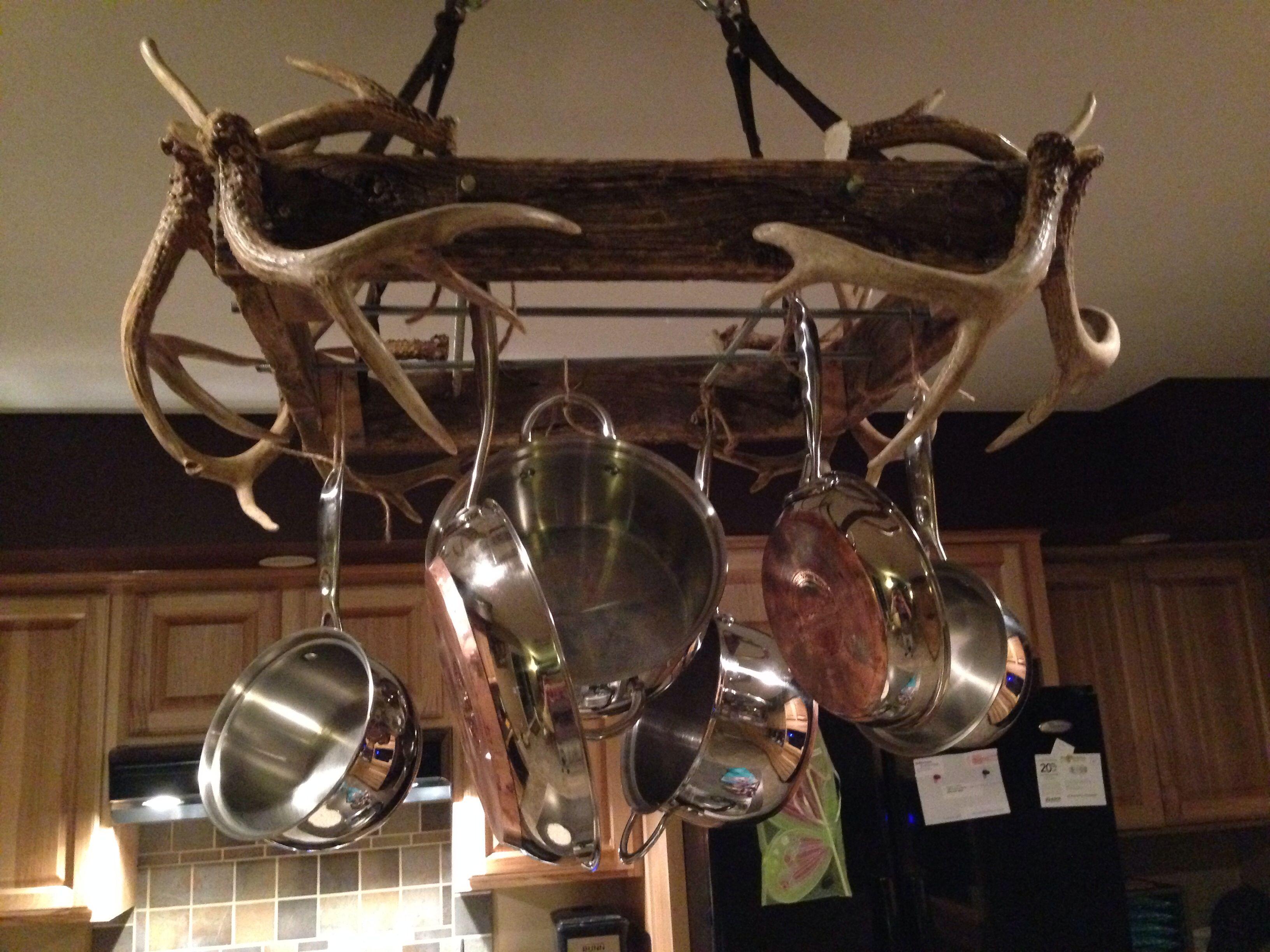 Diy Pan Rack Barn Wood And Antlers In 2019 Pan Rack