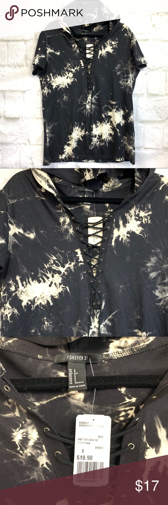 New Tie Dye Hoodie Tee Shirt T Shirt With Hood Black With Off White Tie Dye Lace Up Front With Silver Hardware Perf Tie Dye Hoodie Hoodie Tee Tee Shirts [ 1740 x 580 Pixel ]