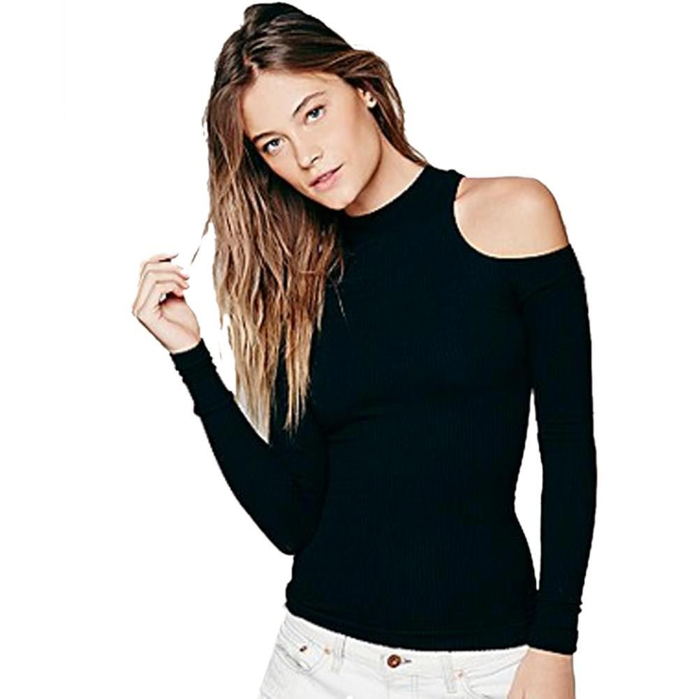 62741f7d78 ... Información acerca de Para mujer top Cut Out negro blusa fuera del  hombro Tops para mujer primavera hueco camisa de la blusa fuera mujer de manga  larga ...