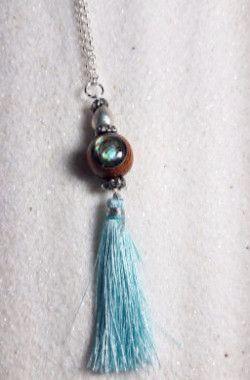 Aqua Abalone Tassel Necklace.