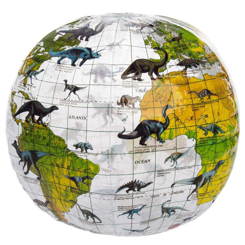 "12"" Inflatable Dinosaur Globe Ball Educational, Fun For"