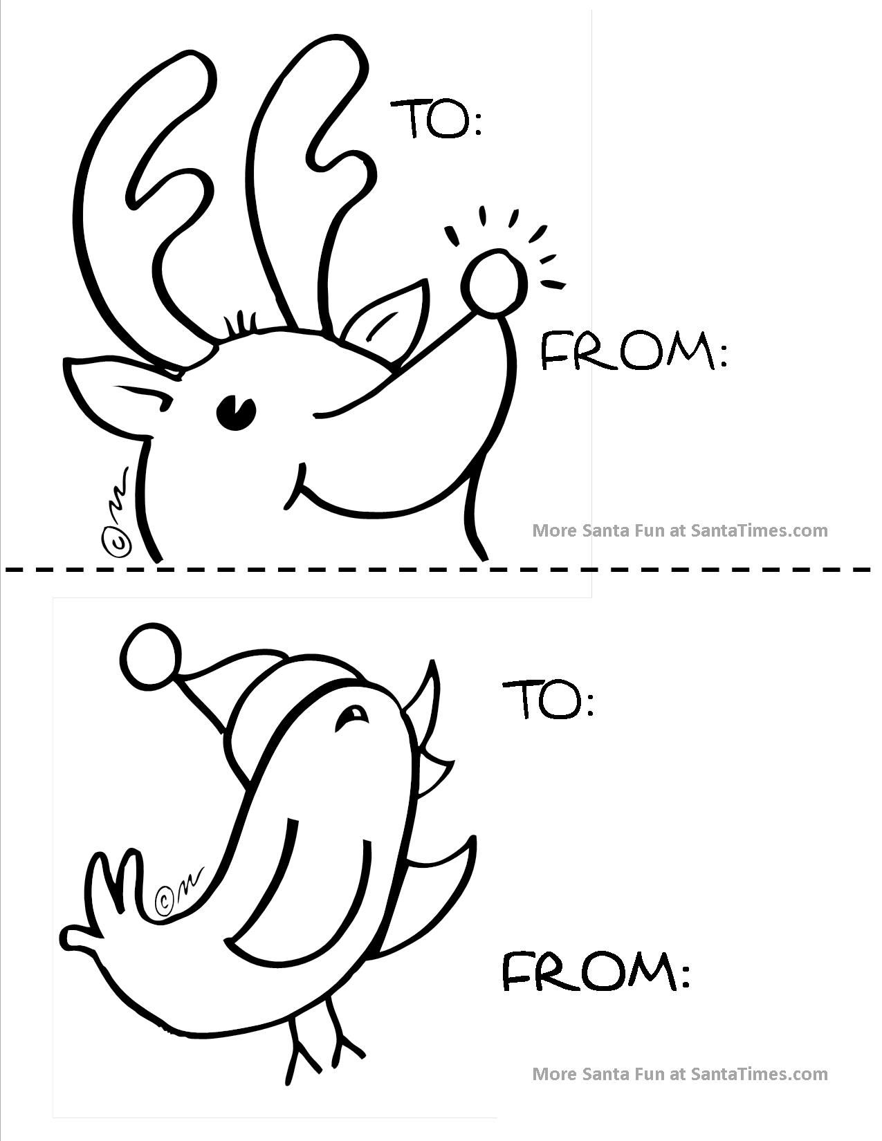 Large Reindeer T Tag For The Little Ones To Color For