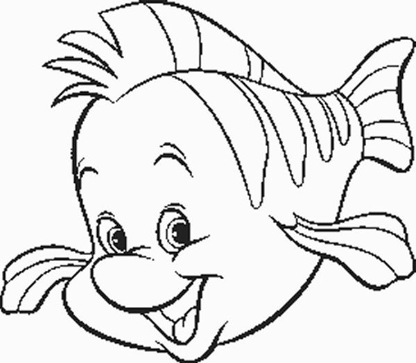 Cute Cartoon Flounder Fish Coloring Page