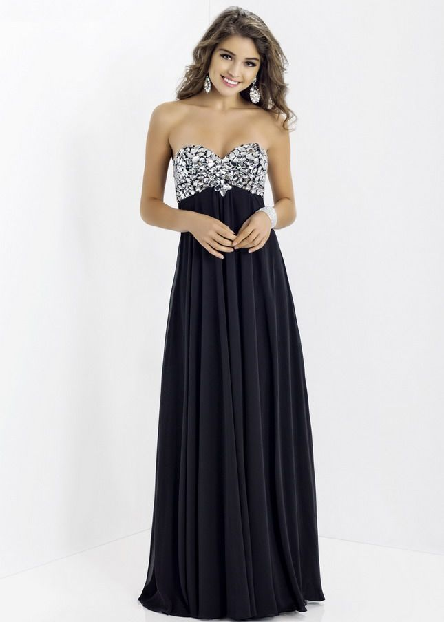 Black Long Big Stones Gemmed Top Open Back Chiffon Prom Dress ...
