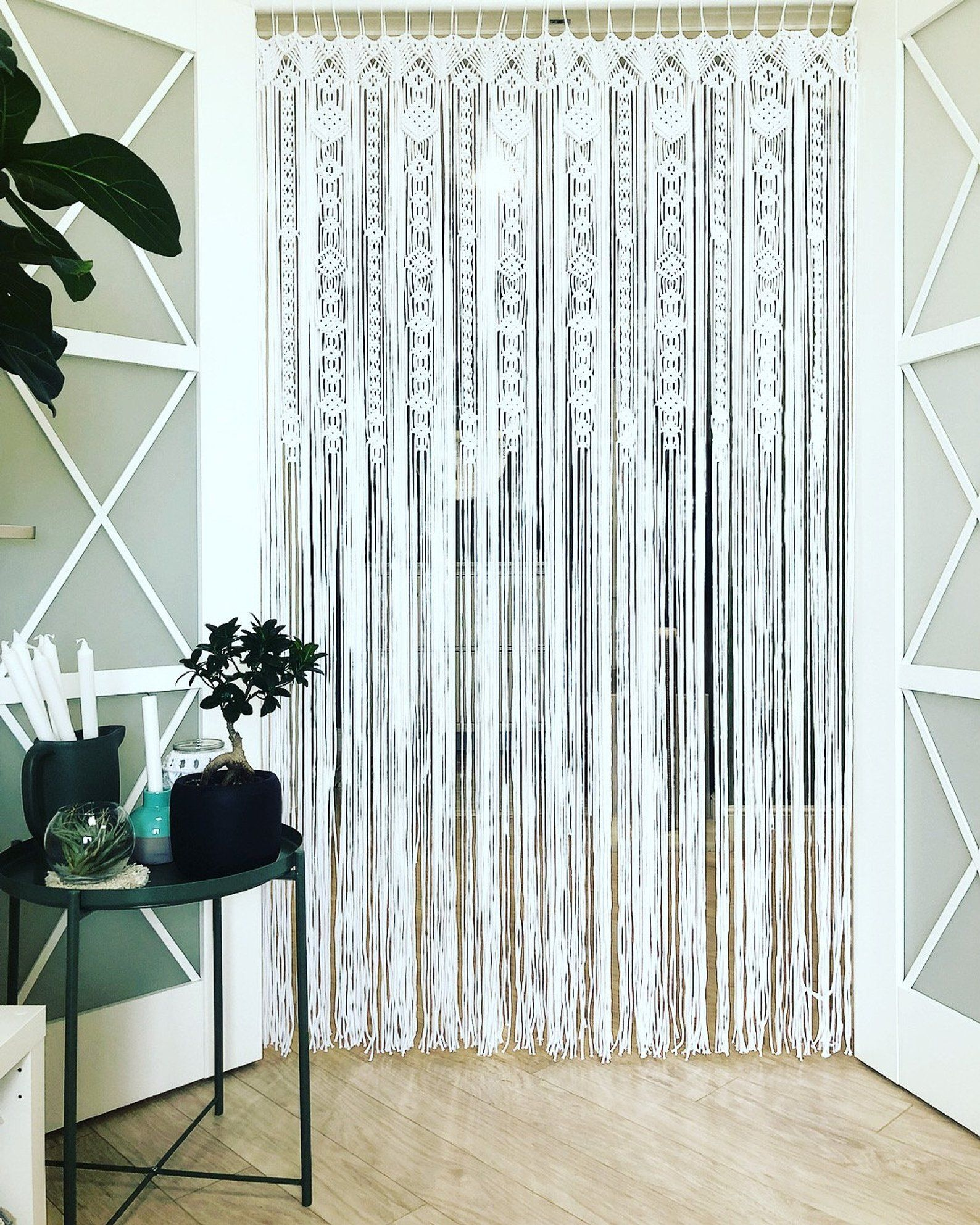 Large Macrame Door Curtains Of 2 Or 1 Panels Macrame Window Etsy Macrame Door Curtain Door Curtains Wall Decor Bedroom