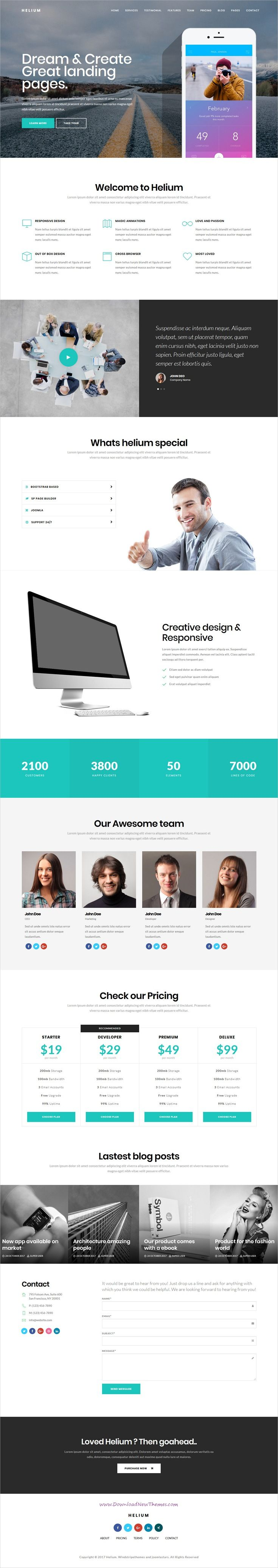 Helium - 10 in 1 Multipurpose Joomla Landing Pages Template