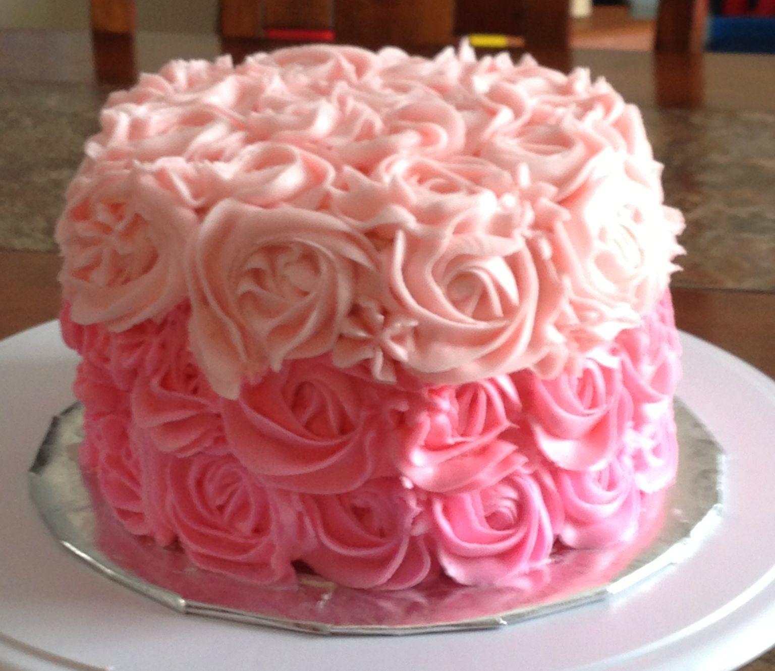 Ombre Pink Rose Cake Using Wilton 2d Tip Rose Cake Decorating Cake Cake Decorating