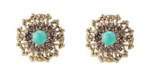 """Marchesa Studs. Intricate filigree earring accented by a turquoise bead. 1/2"""" diameter. Post Stud. $29. www.stelladot.com/oakley"""