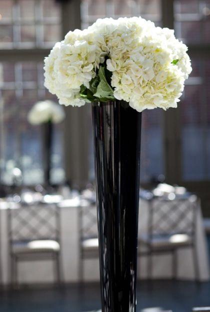 Black Vase Spy Party Fl Centerpieces White Flowers Vases