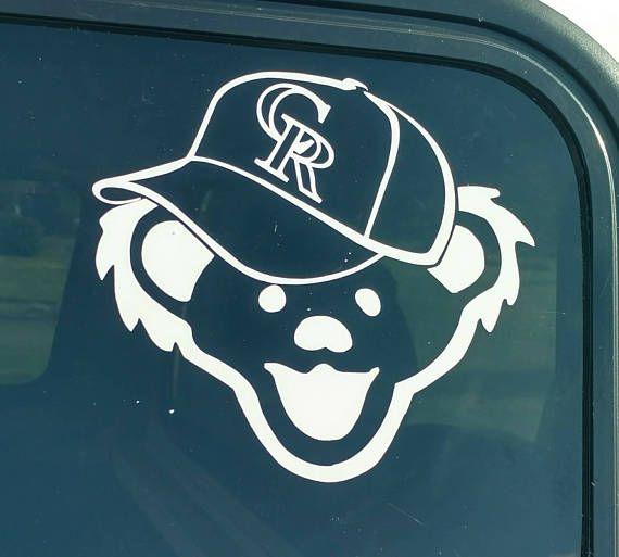 Colorado rockies grateful dead decal jerry bear denver baseball hat cap die cut vinyl sticker car truck bumper window decal