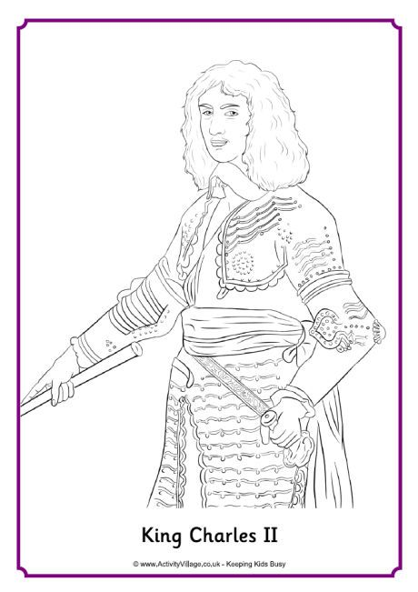 King Charles II colouring page | Restoration England | Pinterest