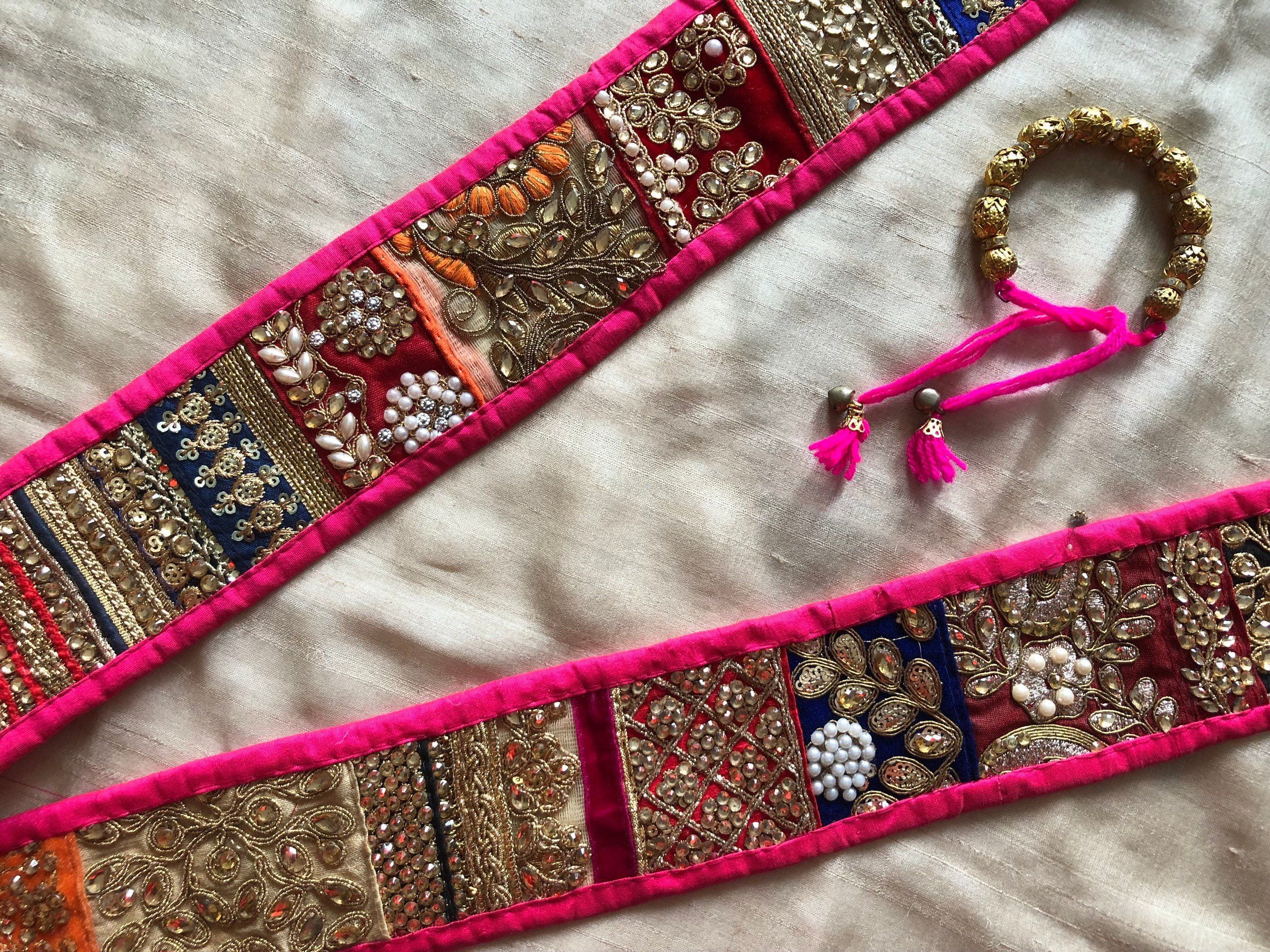 Indian Fringed Trim Designer Pink Ribbon Beaded Handmade Border Sewing Lace 1  Y