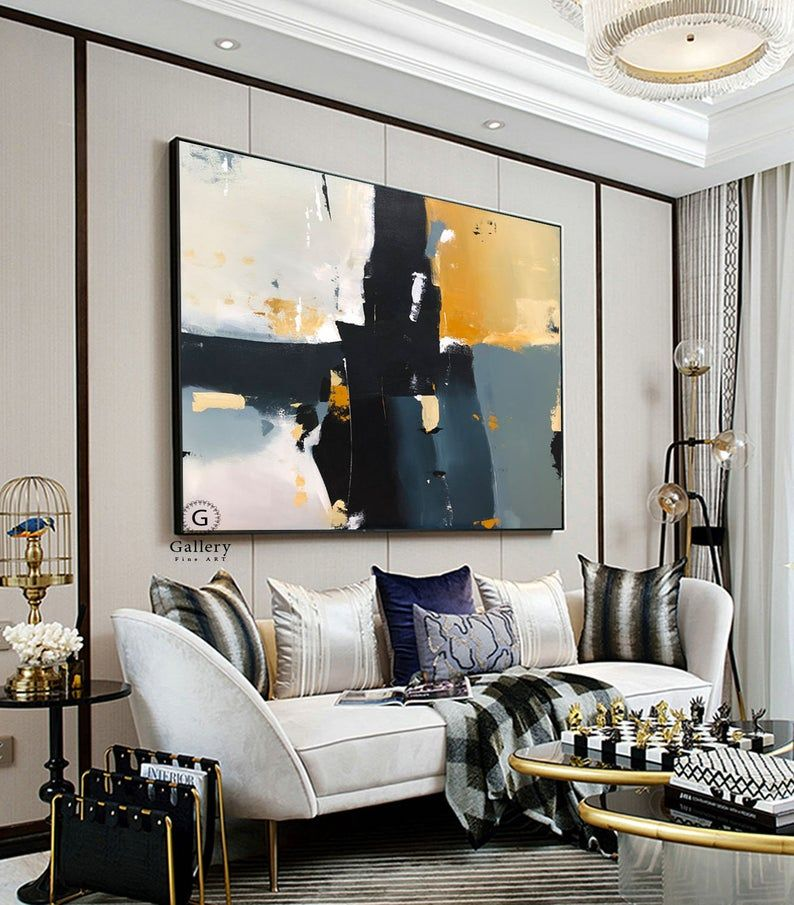 Geometric Large Canvas Art Abstract Painting Large Wall Art Etsy In 2020 Apartment Living Room Design Living Room Designs Living Room Modern #wall #canvases #for #living #room