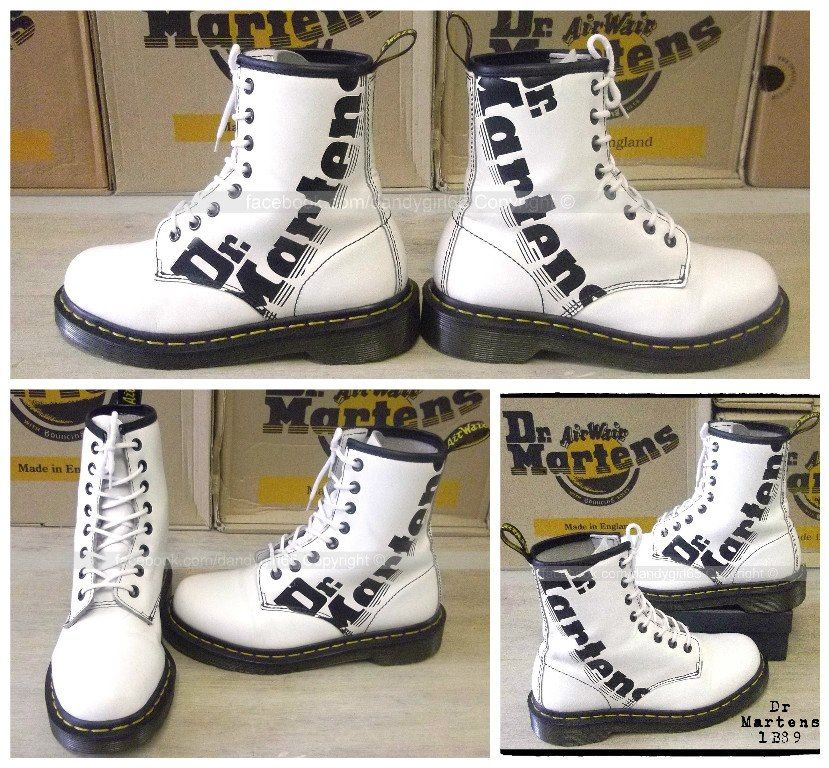 43583318fe8 Dr Martens 1B89 Uk3 Eu36 8 trous cuir lisse blanc Made In Macau  drmartens   docmartens  martens  gothique  goth  punk  doc  dandygirl65