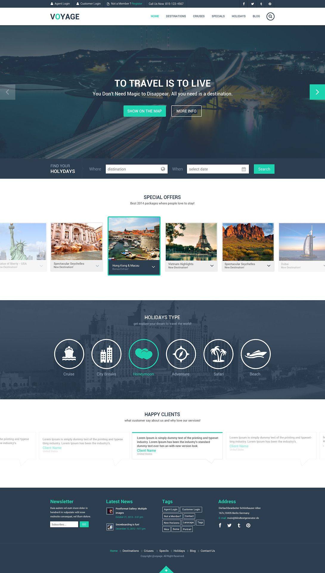 Free Travel Website Template PSD | Travel website design ...