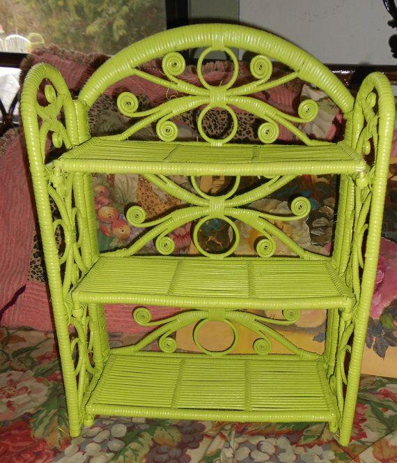 Darling Vintage Lime Green Wicker Shelf By POPPIESTREASURES, $34.99