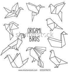 Photo of Cute Collection 10 Origami Birds Outline Stock Vector (Royalty Free) 1033379272