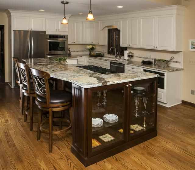 Grand Designs Kitchens: Kitchen With Glass Bookcase Island And Leaded Glass Pass
