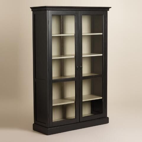 Large Black Rubbed Hamilton Curio Cabinet Living Room Wood Floor Black Curio Cabinets Curio Cabinet