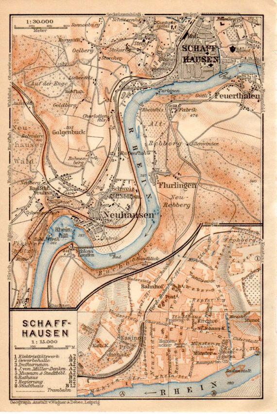1909 Schaffhausen Switzerland Antique Map Schafuuse by Craftissimo