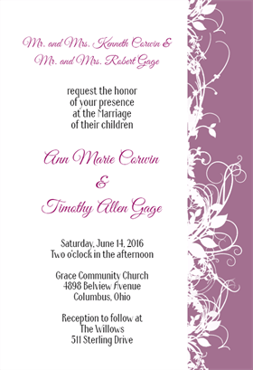 White Floral- Purple - Free Printable Wedding Invitation Template ...