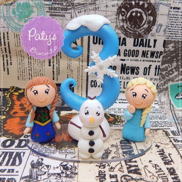 Vela decorada Frozen - Anna, Elsa e Olaf - Paty's Biscuit